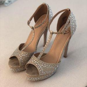 Windsor Open Toe Jeweled Heels Size 10